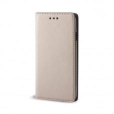 Samsung A715 Galaxy A71 (2020) oldalra nyíló mágneses könyv tok szilikon belsővel arany