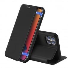 Apple iPhone 12 / 12 Pro 2020 (6.1) oldalra nyíló mágneses könyv tok szilikon belsővel fekete
