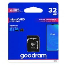 Goodram microSDHC 32GB Class 10 memóriakártya SD adapterrel Artisjus matricával - M1AA-0320R11