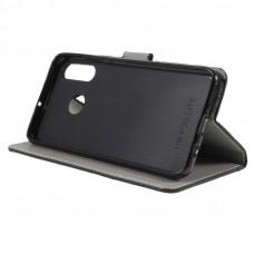 Huawei P30 Lite oldalra nyíló mágneses könyv tok szilikon belsővel fekete