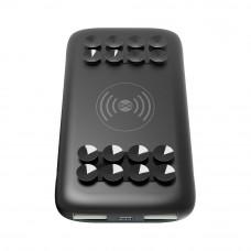 Power bank vezeték nélküli, wireless, QI töltéssel 1x USB foglalattal 10000mAh fekete (1A)