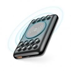 Power bank wireless, vezeték nélküli QI töltéssel 1x USB és 1 Type-C foglalattal 10000mAh fekete (max 3A)