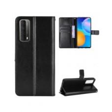 Huawei P Smart 2021 oldalra nyíló mágneses könyv tok szilikon belsővel fekete