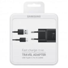 Samsung EP-TA20EBE gyári hálózati fekete gyorstöltő 2A EP-DW720CBE fekete gyári Type-c adatkábellel 1.5m 15W